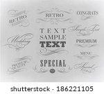 calligraphic design elements... | Shutterstock .eps vector #186221105