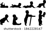 set of baby silhouettes from... | Shutterstock .eps vector #1862228167