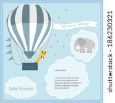 baby shower card  for baby boy... | Shutterstock .eps vector #186230321