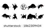 ten icons  logo  bull cow ... | Shutterstock .eps vector #1862309434