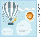 baby shower card  for baby boy... | Shutterstock .eps vector #186236525