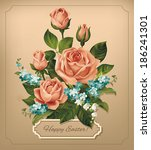easter vintage card with roses. ... | Shutterstock .eps vector #186241301