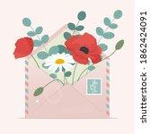 spring flowers in an envelope.... | Shutterstock .eps vector #1862424091