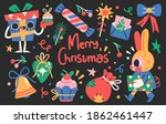 set of cute merry christmas and ... | Shutterstock .eps vector #1862461447