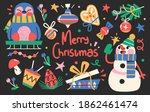 set of cute merry christmas and ... | Shutterstock .eps vector #1862461474