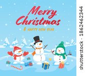 merry christmas with santa... | Shutterstock .eps vector #1862462344