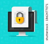 locked access to document file... | Shutterstock .eps vector #1862477071