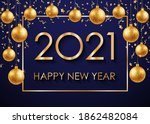 2021 happy new year gold text... | Shutterstock .eps vector #1862482084