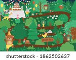 vector birthday party forest... | Shutterstock .eps vector #1862502637
