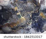 Small photo of Blue Abstract. Delicate Emerald. Alcohol Ink Splatter Star. Motley Ocean color Smudges. Navy blue spatter. Gold Marble Gouache drawn. Black Dirty. Ink Wash Pastel.