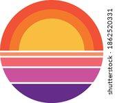 vintage retro striped sunset... | Shutterstock .eps vector #1862520331