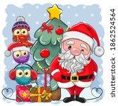 Cute Cartoon Santa Claus And...