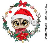 cute cartoon owl in santa hat... | Shutterstock .eps vector #1862524567