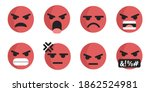 red angry face emoji collection.... | Shutterstock .eps vector #1862524981