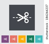 scissors. single flat icon on... | Shutterstock .eps vector #186266237