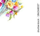 flowers. watercolor floral... | Shutterstock . vector #186268037