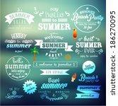 vintage typography summer... | Shutterstock .eps vector #186270095