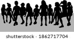 black silhouettes of a people... | Shutterstock . vector #1862717704