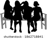black silhouettes of a people... | Shutterstock . vector #1862718841