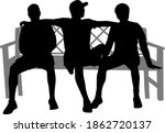 black silhouettes of a people... | Shutterstock . vector #1862720137