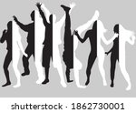 dancing people silhouettes.... | Shutterstock . vector #1862730001