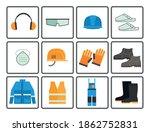 flat job safety equipment...   Shutterstock .eps vector #1862752831