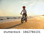 Happy Little Boy Riding Bicycl...