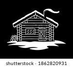 rustic log cabin in winter | Shutterstock .eps vector #1862820931