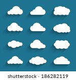 Flat design cloudscapes collection. Flat shadows. Vector illustration | Shutterstock vector #186282119