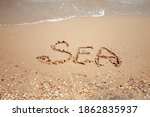 Handwritten Sea Word On The...