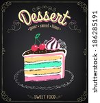 vintage card desserts with cake.... | Shutterstock .eps vector #186285191