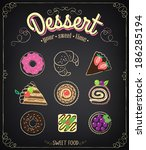 bakery menu. sweet dessert set  ... | Shutterstock .eps vector #186285194