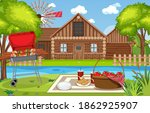picnic scene with food on the... | Shutterstock .eps vector #1862925907