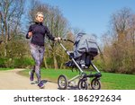 young mother jogging with a...   Shutterstock . vector #186292634