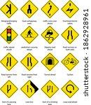 set of yellow traffic warning... | Shutterstock .eps vector #1862928961