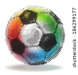 Halftone Soccer Ball With...
