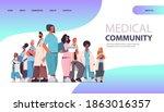 female doctor leader standing... | Shutterstock .eps vector #1863016357
