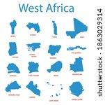 west africa   vector maps of... | Shutterstock .eps vector #1863029314