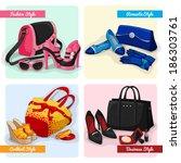 set of women luxury bags shoes... | Shutterstock . vector #186303761