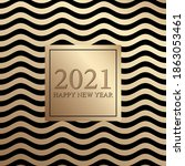 2021 happy new year. golden... | Shutterstock .eps vector #1863053461
