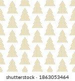 golden christmas trees winter... | Shutterstock .eps vector #1863053464