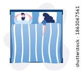 love couple lying in bed. woman ... | Shutterstock .eps vector #1863067561
