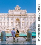 Small photo of Trevi Fountain, rome, Italy. City trip Rome couple on city trip in Rome