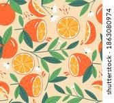 seamless orange pattern.... | Shutterstock .eps vector #1863080974