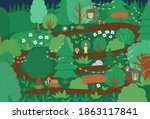 vector birthday party forest... | Shutterstock .eps vector #1863117841
