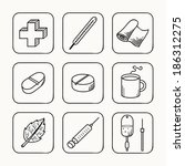 sketches simple medical icons... | Shutterstock .eps vector #186312275