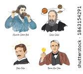 portraits of famous scientist.... | Shutterstock .eps vector #1863154291