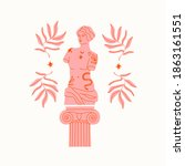 pink marble statue of venus ... | Shutterstock .eps vector #1863161551
