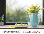 Yellow Chrysanthemum In Teal...