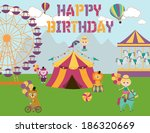 circus birthday | Shutterstock .eps vector #186320669